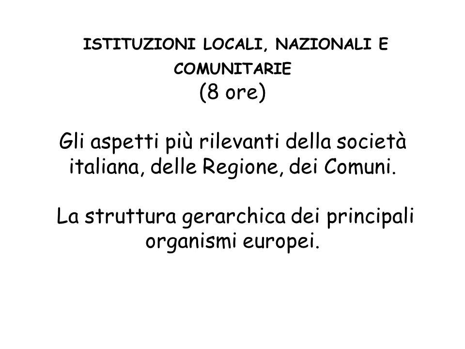 ISTITUZIONI LOCALI, NAZIONALI E COMUNITARIE (8 ore) Gli aspetti più rilevanti della società italiana, delle Regione, dei Comuni. La struttura gerarchi