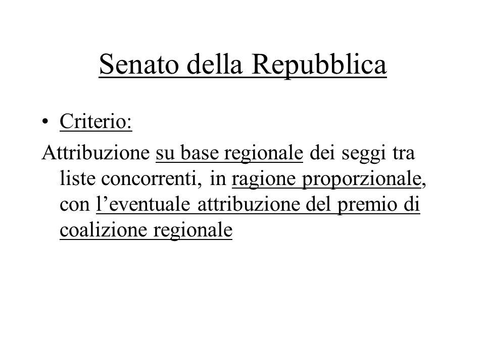 Senato della Repubblica Criterio: Attribuzione su base regionale dei seggi tra liste concorrenti, in ragione proporzionale, con l'eventuale attribuzio