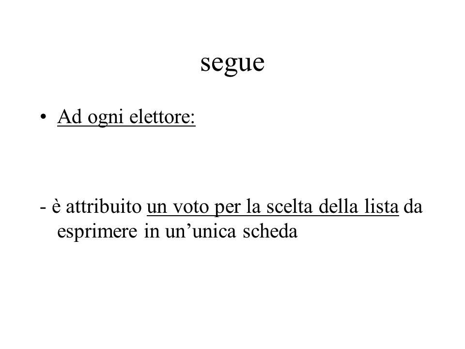 segue Ad ogni elettore: - è attribuito un voto per la scelta della lista da esprimere in un'unica scheda
