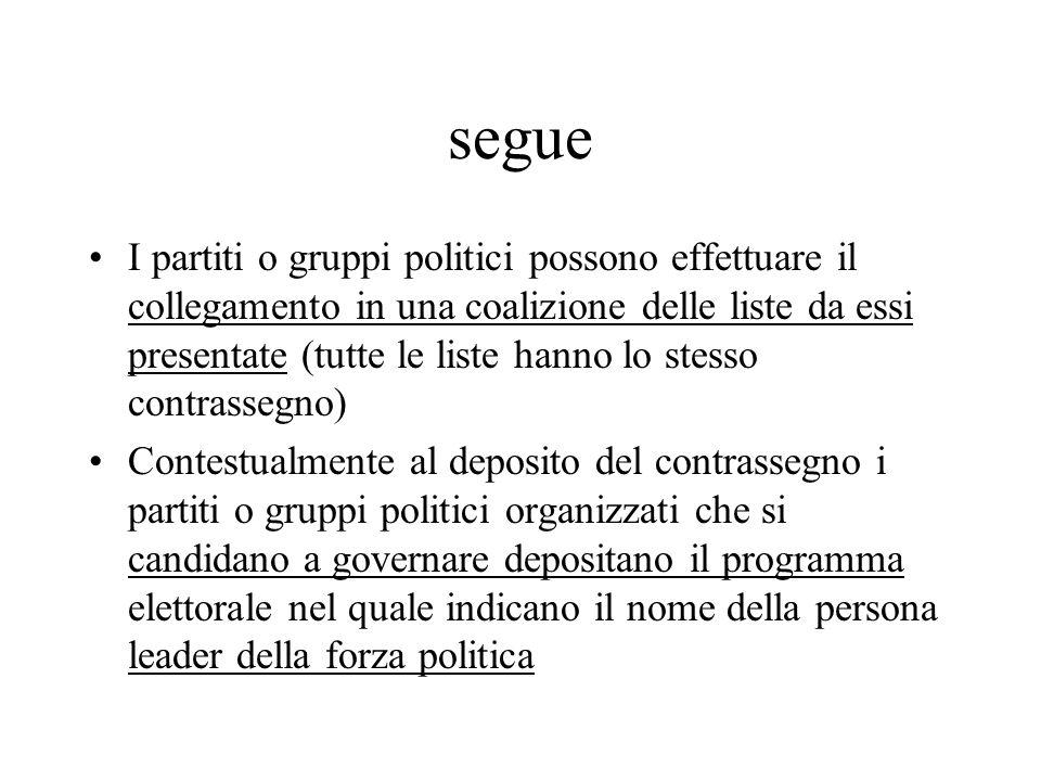 segue I partiti o gruppi politici possono effettuare il collegamento in una coalizione delle liste da essi presentate (tutte le liste hanno lo stesso