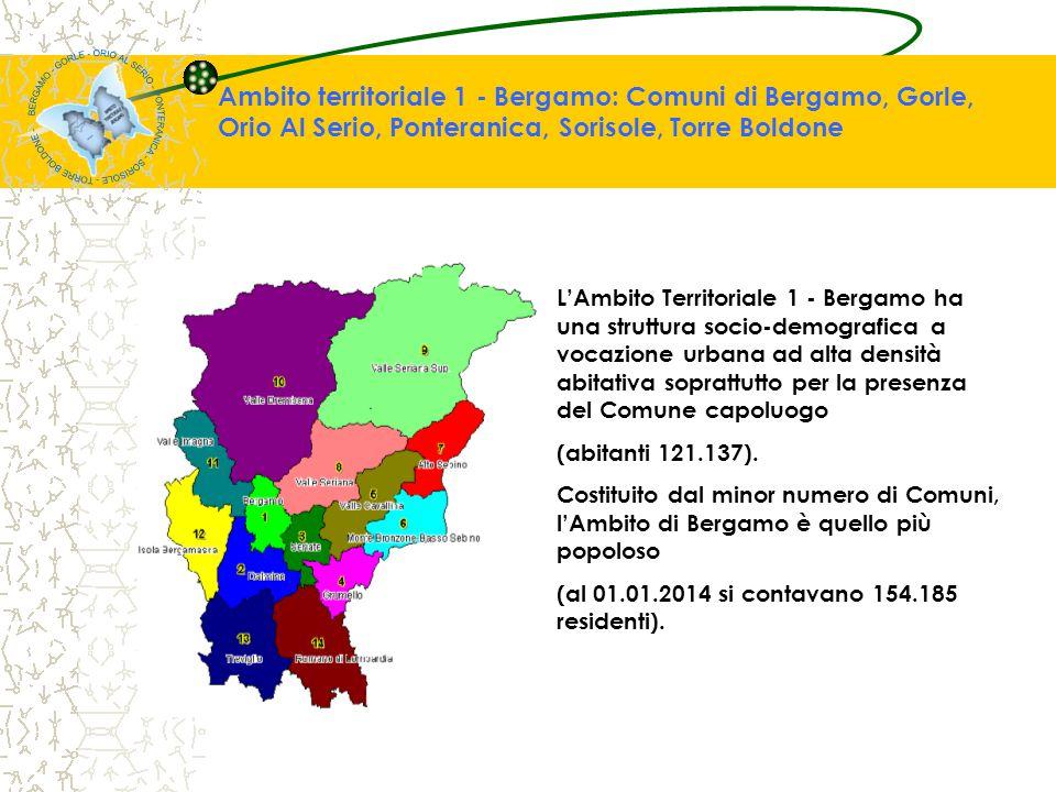 Contesto socio-demografico Struttura socio-demografica sbilanciata sulle generazioni anziane L'Ambito 1 - Bergamo è l'Ambito territoriale con l'indice d'invecchiamento (22,61%) tra i più alti della provincia (17,75%), superiore anche alla media regionale (20,10%) e nazionale (20,30%).