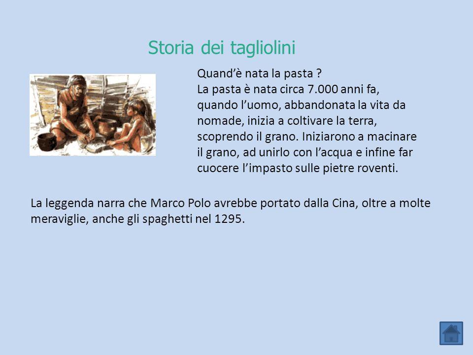 Storia dei tagliolini Quand'è nata la pasta ? La pasta è nata circa 7.000 anni fa, quando l'uomo, abbandonata la vita da nomade, inizia a coltivare la