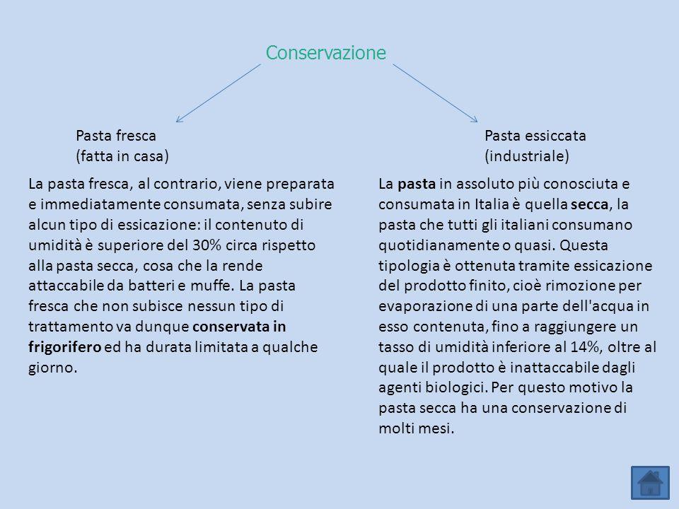 Conservazione Pasta fresca (fatta in casa) Pasta essiccata (industriale) La pasta in assoluto più conosciuta e consumata in Italia è quella secca, la