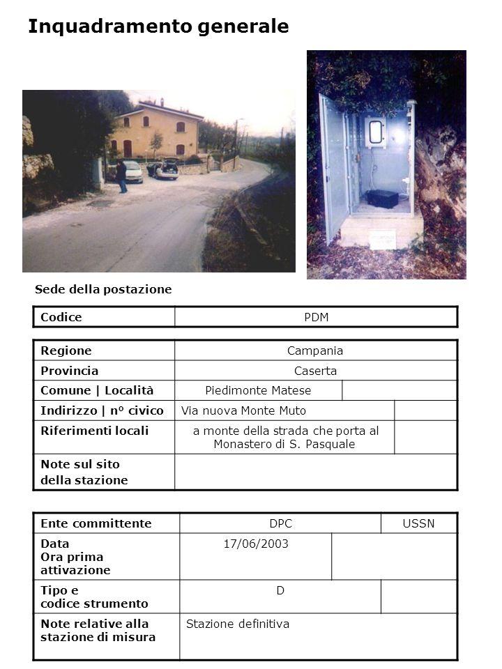 Sede della postazione CodicePDM Ente committenteDPCUSSN Data Ora prima attivazione 17/06/2003 Tipo e codice strumento D Note relative alla stazione di