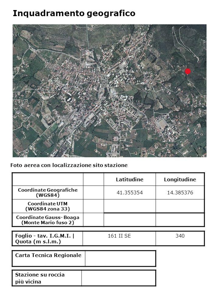 Foto aerea con localizzazione sito stazione Foglio - tav. I.G.M.I. | Quota (m s.l.m.) 161 II SE340 Inquadramento geografico LatitudineLongitudine Coor