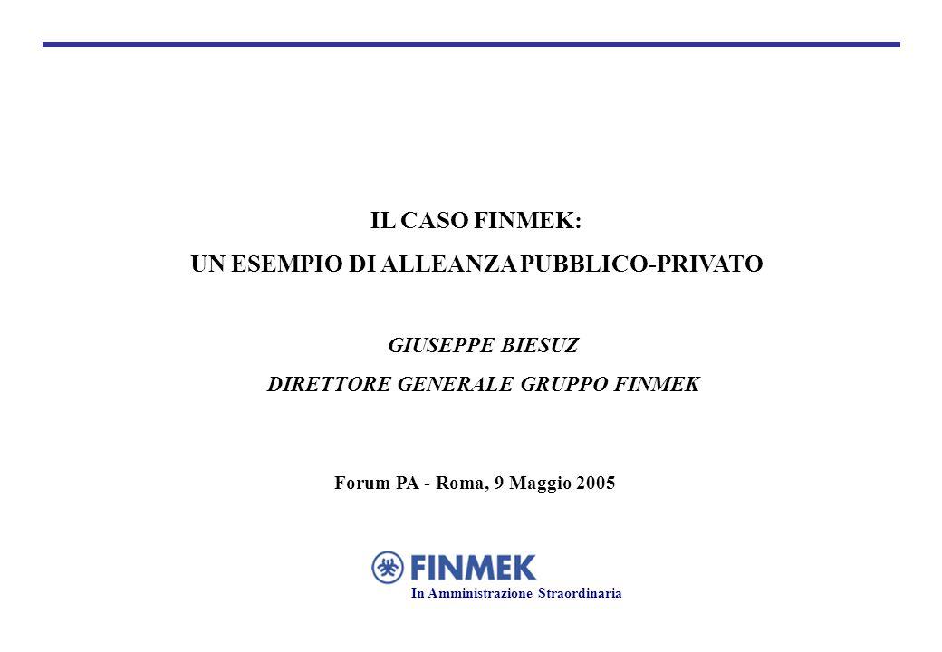 GIUSEPPE BIESUZ DIRETTORE GENERALE GRUPPO FINMEK Forum PA - Roma, 9 Maggio 2005 IL CASO FINMEK: UN ESEMPIO DI ALLEANZA PUBBLICO-PRIVATO In Amministrazione Straordinaria