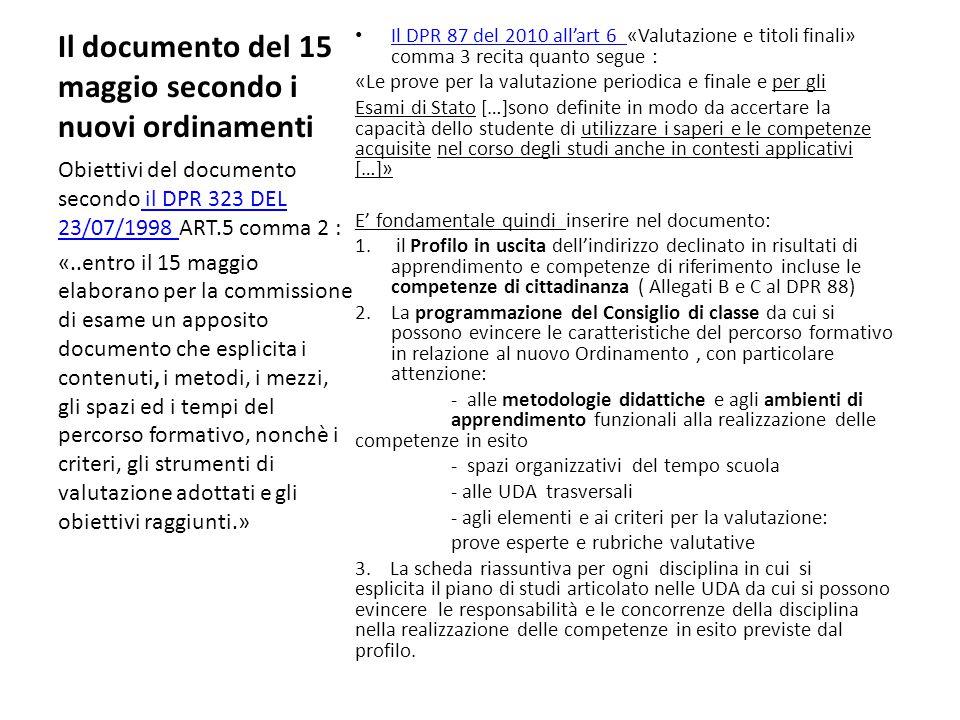 Il documento del 15 maggio secondo i nuovi ordinamenti Il DPR 87 del 2010 all'art 6 «Valutazione e titoli finali» comma 3 recita quanto segue : Il DPR 87 del 2010 all'art 6 «Le prove per la valutazione periodica e finale e per gli Esami di Stato […]sono definite in modo da accertare la capacità dello studente di utilizzare i saperi e le competenze acquisite nel corso degli studi anche in contesti applicativi […]» E' fondamentale quindi inserire nel documento: 1.