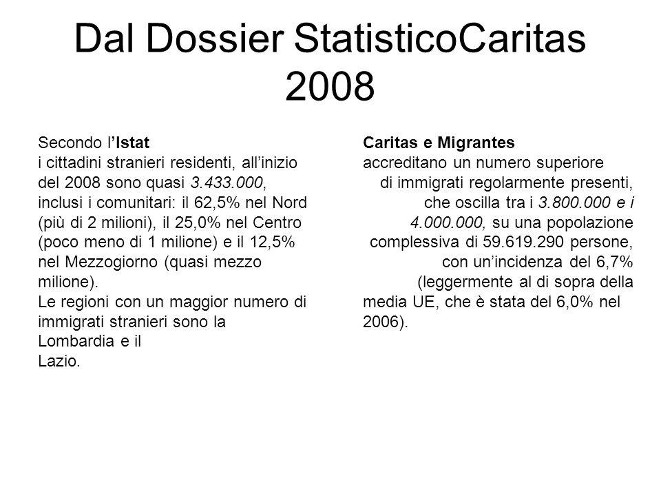 Dal Dossier StatisticoCaritas 2008 Caritas e Migrantes accreditano un numero superiore di immigrati regolarmente presenti, che oscilla tra i 3.800.000 e i 4.000.000, su una popolazione complessiva di 59.619.290 persone, con un'incidenza del 6,7% (leggermente al di sopra della media UE, che è stata del 6,0% nel 2006).