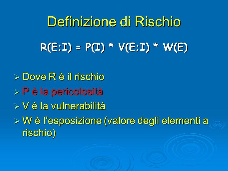 Definizione di Rischio R(E;I) = P(I) * V(E;I) * W(E)  Dove R è il rischio  P è la pericolosità  V è la vulnerabilità  W è l'esposizione (valore degli elementi a rischio)