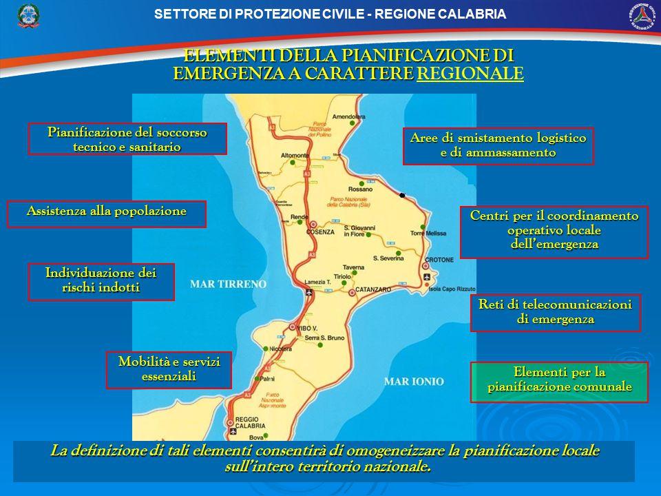 SETTORE DI PROTEZIONE CIVILE - REGIONE CALABRIA ELEMENTI DELLA PIANIFICAZIONE DI EMERGENZA A CARATTERE ELEMENTI DELLA PIANIFICAZIONE DI EMERGENZA A CARATTERE REGIONALE Pianificazione del soccorso tecnico e sanitario Aree di smistamento logistico e di ammassamento Assistenza alla popolazione Centri per il coordinamento operativo locale dell'emergenza Reti di telecomunicazioni di emergenza Mobilità e servizi essenziali Individuazione dei rischi indotti Elementi per la pianificazione comunale La definizione di tali elementi consentirà di omogeneizzare la pianificazione locale sull'intero territorio nazionale.