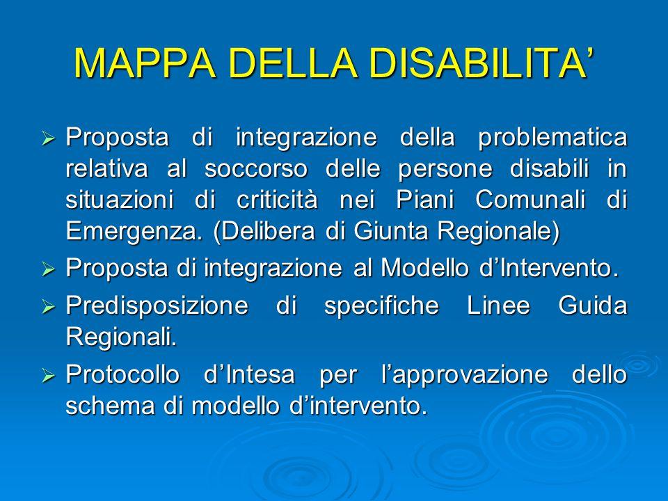 MAPPA DELLA DISABILITA'  Proposta di integrazione della problematica relativa al soccorso delle persone disabili in situazioni di criticità nei Piani Comunali di Emergenza.