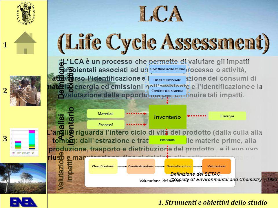 L' LCA è un processo che permette di valutare gli impatti ambientali associati ad un prodotto, processo o attività, attraverso l'identificazione e la quantificazione dei consumi di materia, energia ed emissioni nell'ambiente e l'identificazione e la valutazione delle opportunità per diminuire tali impatti.