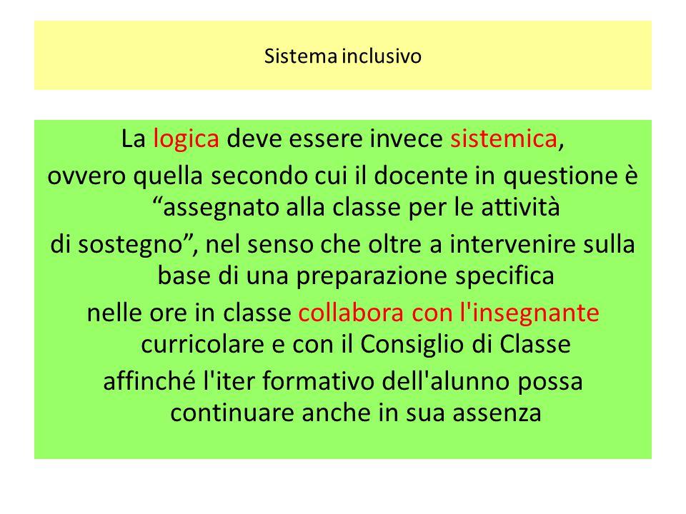 """Sistema inclusivo La logica deve essere invece sistemica, ovvero quella secondo cui il docente in questione è """"assegnato alla classe per le attività d"""