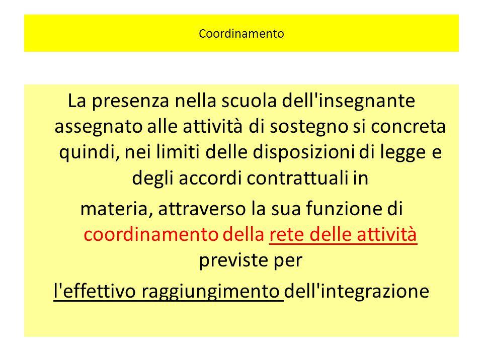 Coordinamento La presenza nella scuola dell'insegnante assegnato alle attività di sostegno si concreta quindi, nei limiti delle disposizioni di legge