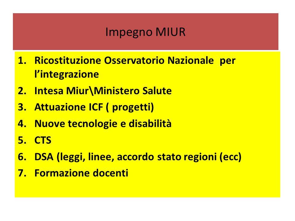 Impegno MIUR 1.Ricostituzione Osservatorio Nazionale per l'integrazione 2.Intesa Miur\Ministero Salute 3.Attuazione ICF ( progetti) 4.Nuove tecnologie