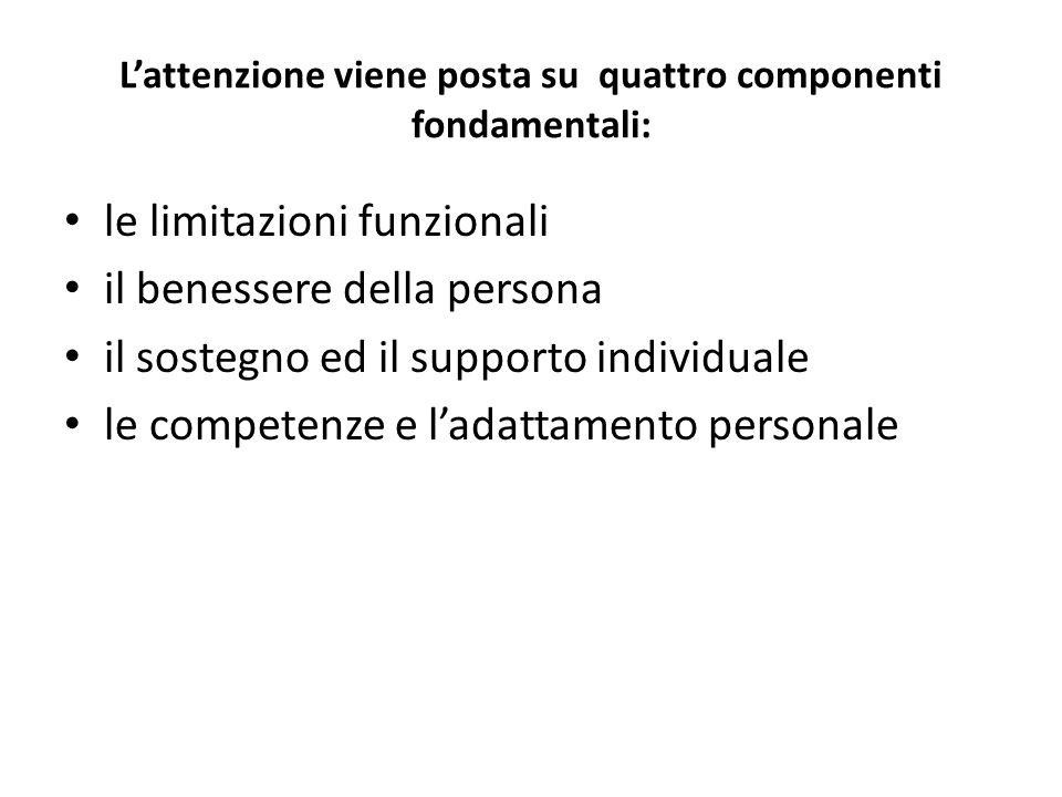 L'attenzione viene posta su quattro componenti fondamentali: le limitazioni funzionali il benessere della persona il sostegno ed il supporto individua
