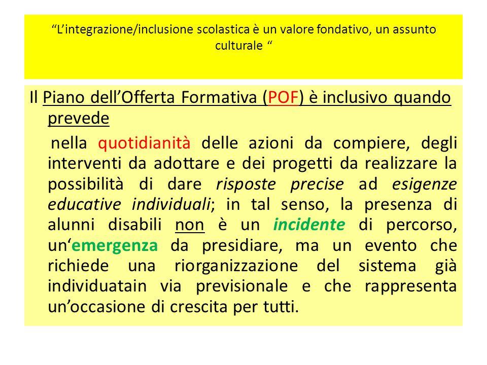 """""""L'integrazione/inclusione scolastica è un valore fondativo, un assunto culturale """" Il Piano dell'Offerta Formativa (POF) è inclusivo quando prevede n"""