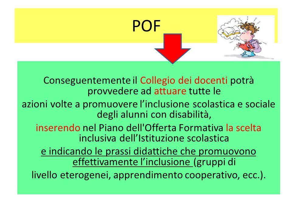 POF Conseguentemente il Collegio dei docenti potrà provvedere ad attuare tutte le azioni volte a promuovere l'inclusione scolastica e sociale degli al
