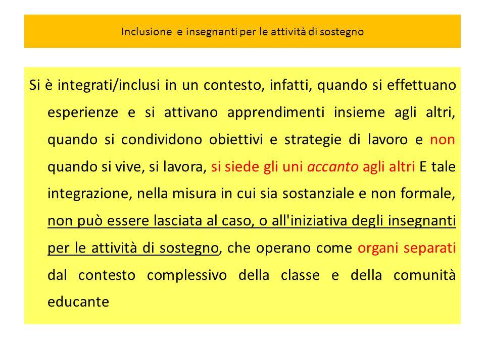 Inclusione e insegnanti per le attività di sostegno Si è integrati/inclusi in un contesto, infatti, quando si effettuano esperienze e si attivano appr