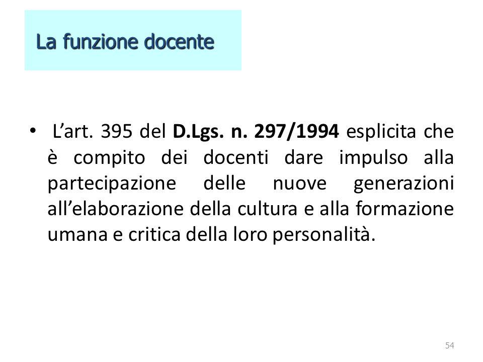 L'art. 395 del D.Lgs. n. 297/1994 esplicita che è compito dei docenti dare impulso alla partecipazione delle nuove generazioni all'elaborazione della