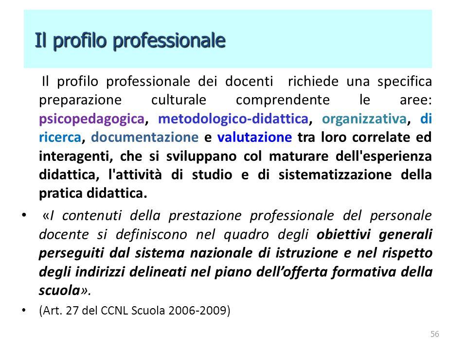 Il profilo professionale dei docenti richiede una specifica preparazione culturale comprendente le aree: psicopedagogica, metodologico-didattica, orga