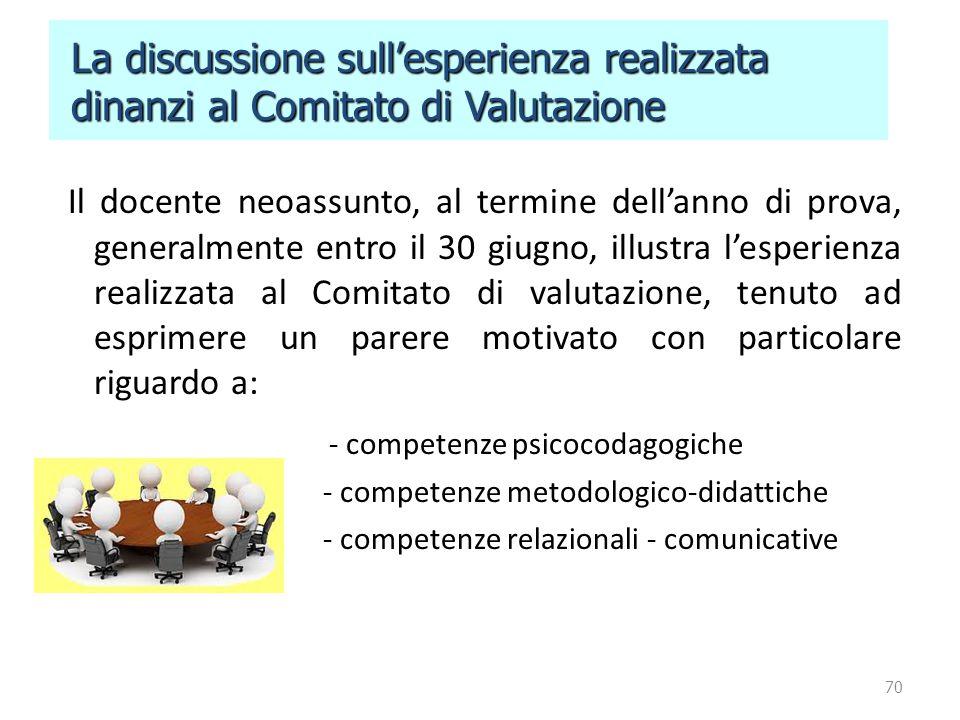 70 La discussione sull'esperienza realizzata La discussione sull'esperienza realizzata dinanzi al Comitato di Valutazione dinanzi al Comitato di Valut