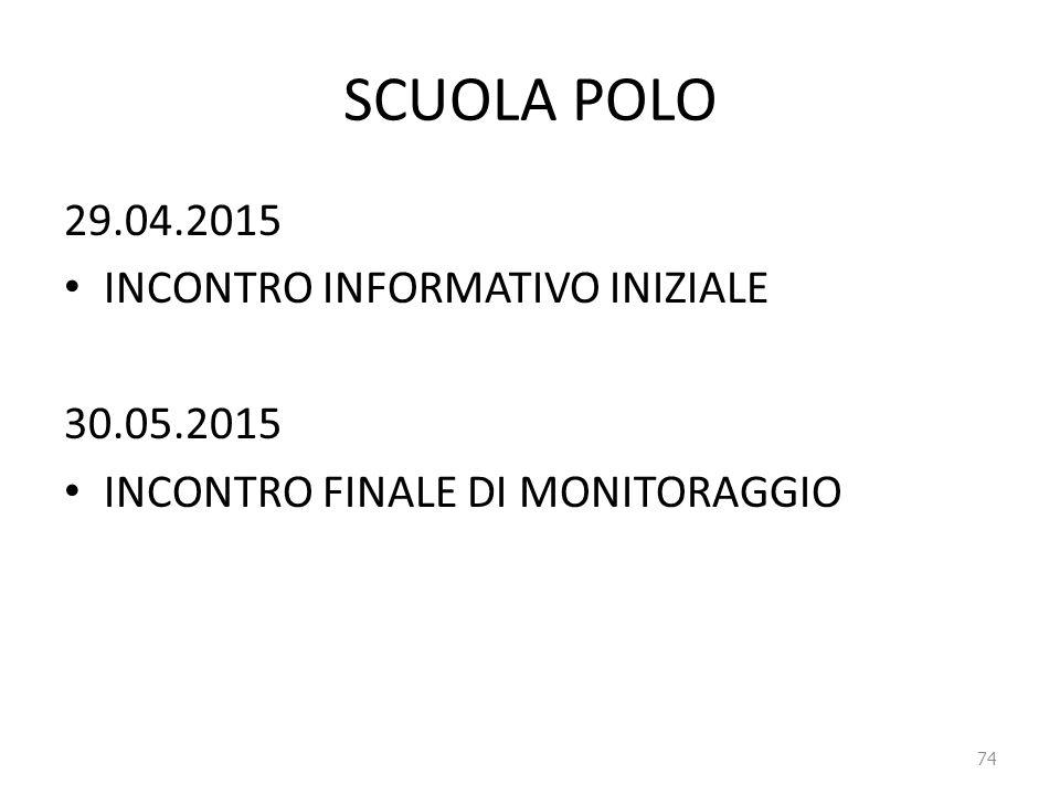 SCUOLA POLO 29.04.2015 INCONTRO INFORMATIVO INIZIALE 30.05.2015 INCONTRO FINALE DI MONITORAGGIO 74