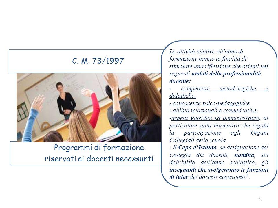 9 C. M. 73/1997 Programmi di formazione riservati ai docenti neoassunti Le attività relative all'anno di formazione hanno la finalità di stimolare una