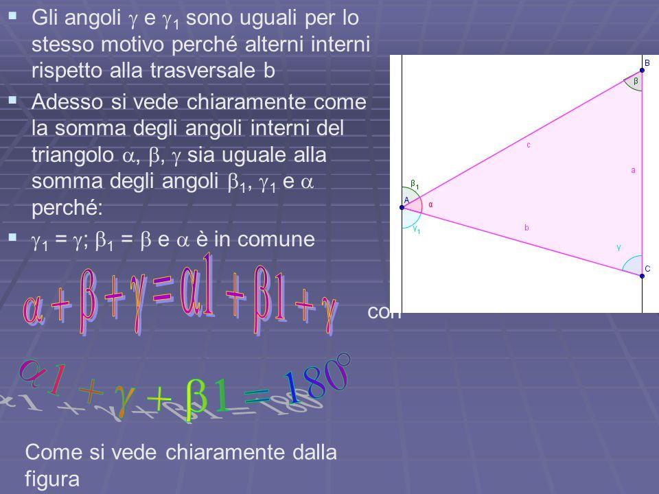   Gli angoli  e  1 sono uguali per lo stesso motivo perché alterni interni rispetto alla trasversale b   Adesso si vede chiaramente come la somm
