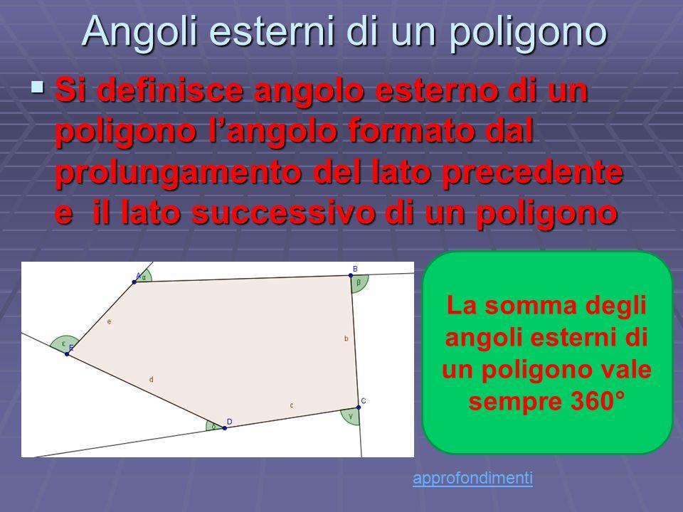 Angoli esterni di un poligono SSSSi definisce angolo esterno di un poligono l'angolo formato dal prolungamento del lato precedente e il lato succe
