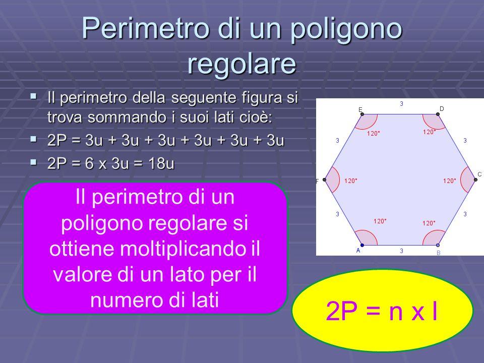 Perimetro di un poligono regolare  Il perimetro della seguente figura si trova sommando i suoi lati cioè:  2P = 3u + 3u + 3u + 3u + 3u + 3u  2P = 6