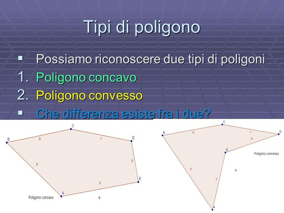 Tipi di poligono  Possiamo riconoscere due tipi di poligoni 1. Poligono concavo 2. Poligono convesso  Che differenza esiste fra i due?