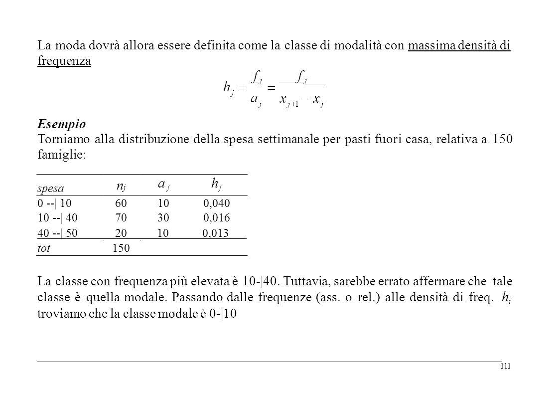 La moda dovrà allora essere definita come la classe di modalità con massima densità di frequenza f j f j f j h  j x  x a j j 1j 1 j Esempio Torniamo famiglie: alla distribuzionedella spesasettimanaleperpastifuorifuoricasa,relativaa150150 a ja j hjhj njnj spesa 0 --| 10 10 --| 40 60 70 10 30 0,040 0,016 40 --| 50 20 10 0,013 tot150 La classe con frequenza più elevata è 10-|40.