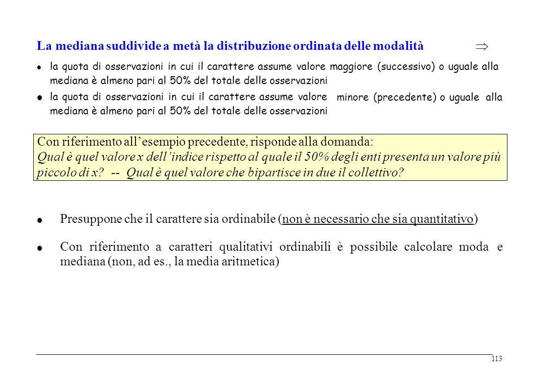  La mediana suddivide a metà la distribuzione ordinata delle modalità  la quota di osservazioni in cui il carattere assume valore maggiore (successi