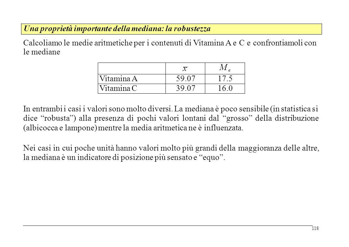 Calcoliamo le medie aritmetiche per i contenuti di Vitamina A e C e confrontiamoli con le mediane In entrambi i casi i valori sono molto diversi. La m