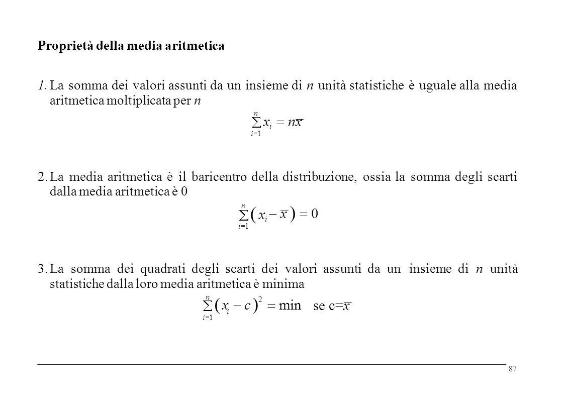 Proprietà della media aritmetica 1. La somma dei valori assunti da un insieme di n unità statistiche aritmetica moltiplicata per n è uguale alla media