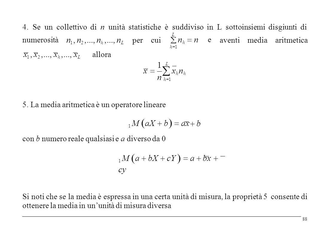 4. Se un collettivo di n unità statisticheè suddivisoin e L sottoinsiemi disgiunti di Lh1Lh1 n h  n numerosità n 1, n 2,..., n h,..., n L percuia