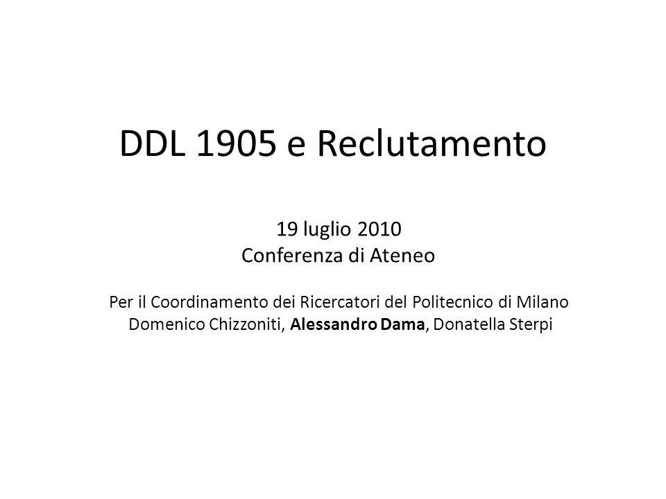 DDL 1905 e Reclutamento 19 luglio 2010 Conferenza di Ateneo Per il Coordinamento dei Ricercatori del Politecnico di Milano Domenico Chizzoniti, Alessandro Dama, Donatella Sterpi