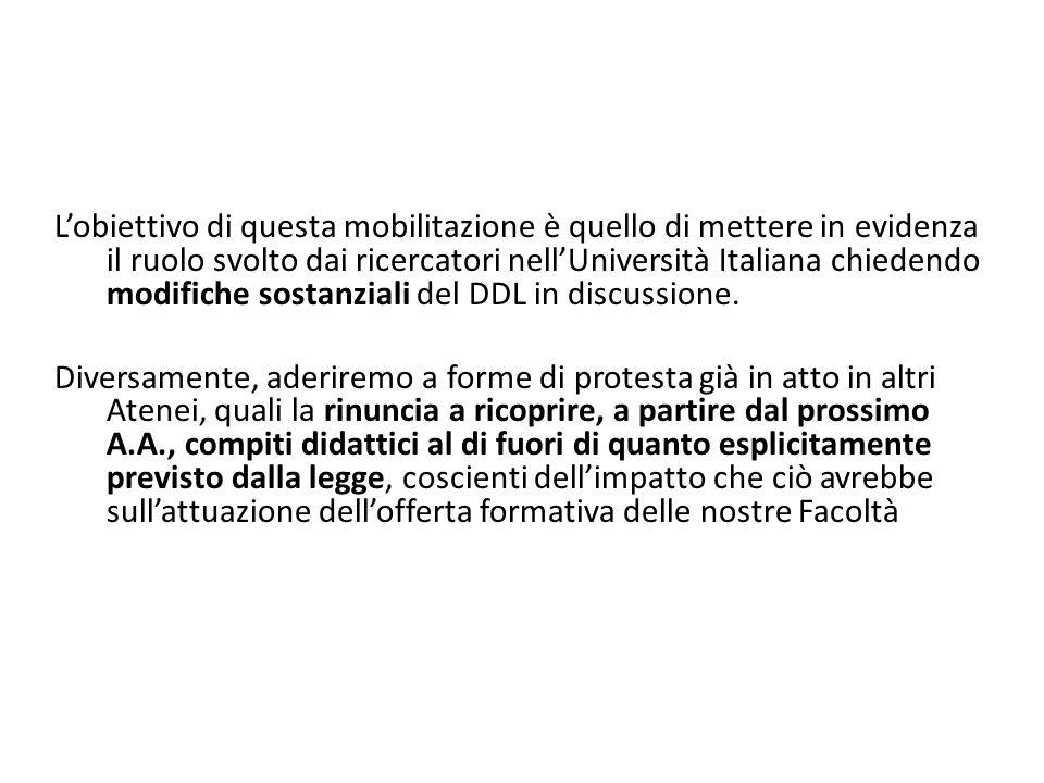 L'obiettivo di questa mobilitazione è quello di mettere in evidenza il ruolo svolto dai ricercatori nell'Università Italiana chiedendo modifiche sostanziali del DDL in discussione.