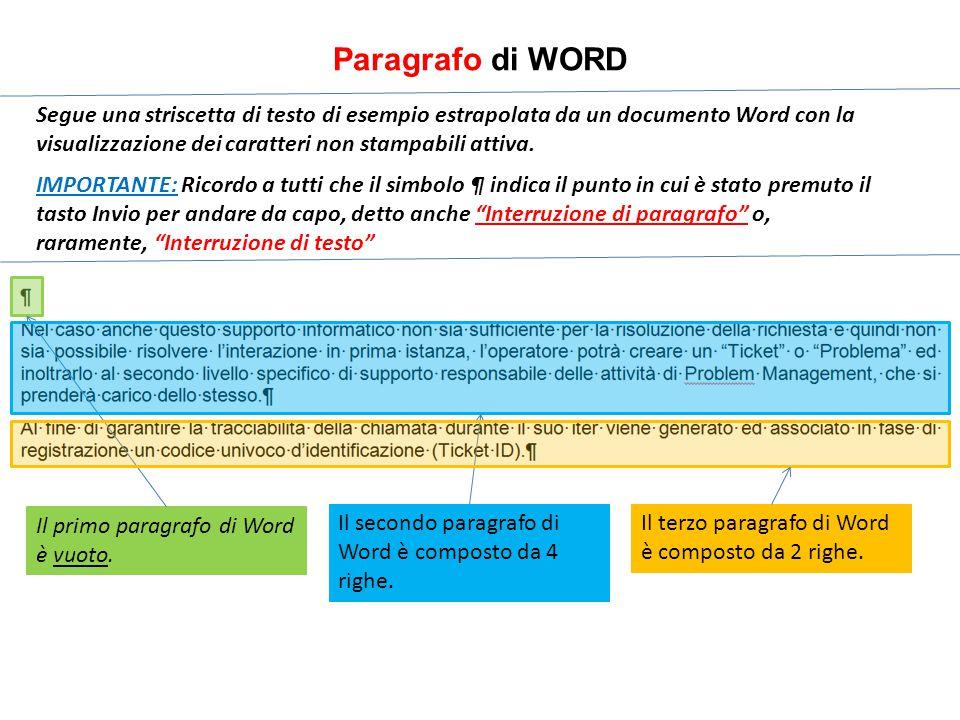 Paragrafo di WORD Segue una striscetta di testo di esempio estrapolata da un documento Word con la visualizzazione dei caratteri non stampabili attiva.