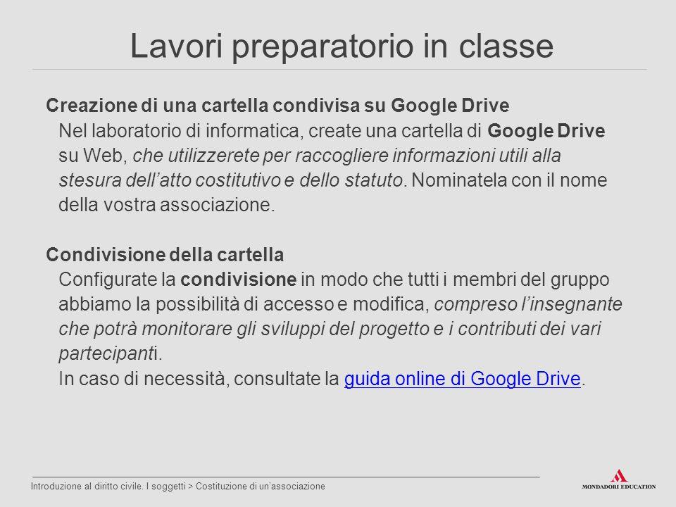 Creazione di una cartella condivisa su Google Drive Nel laboratorio di informatica, create una cartella di Google Drive su Web, che utilizzerete per r