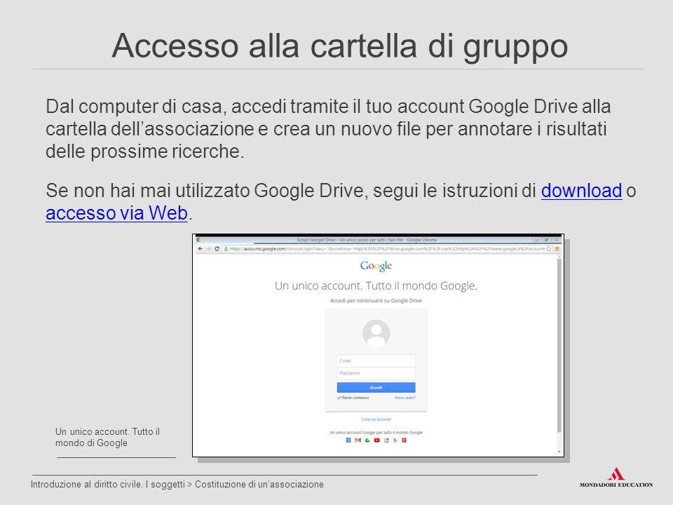 Dal computer di casa, accedi tramite il tuo account Google Drive alla cartella dell'associazione e crea un nuovo file per annotare i risultati delle p