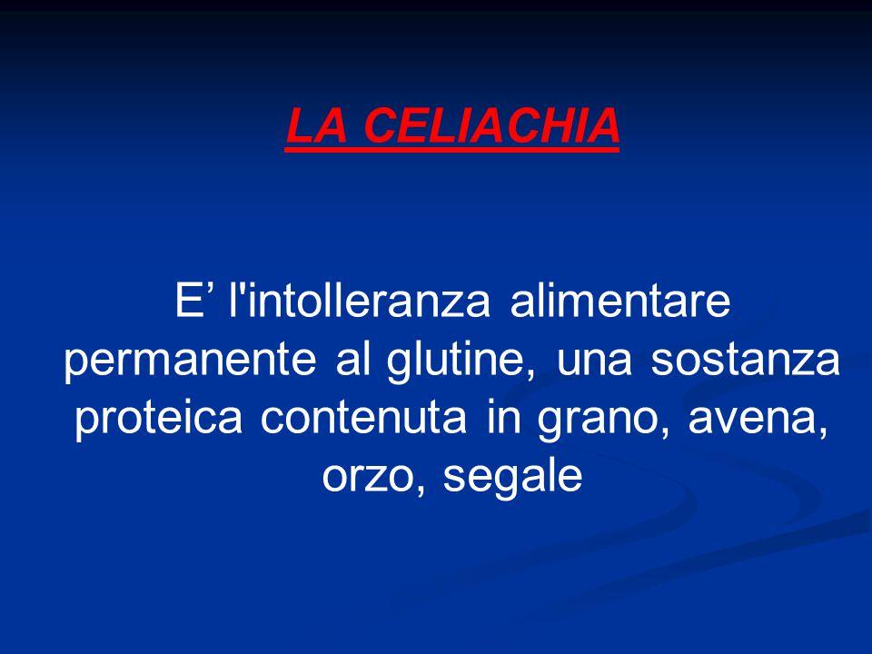LA CELIACHIA E' l'intolleranza alimentare permanente al glutine, una sostanza proteica contenuta in grano, avena, orzo, segale