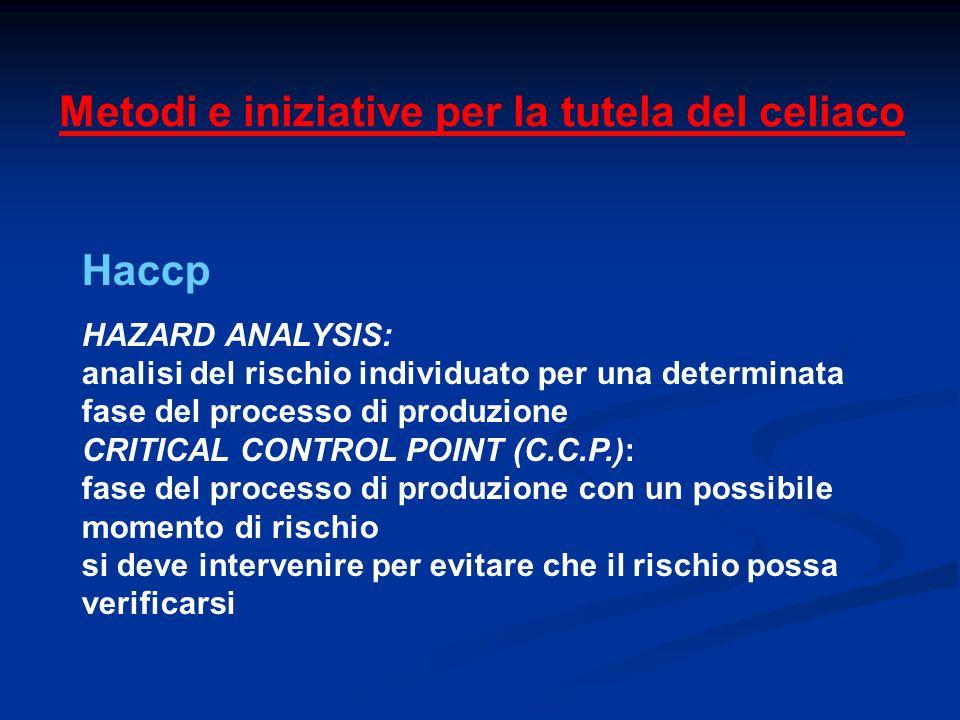 Metodi e iniziative per la tutela del celiaco Haccp HAZARD ANALYSIS: analisi del rischio individuato per una determinata fase del processo di produzio