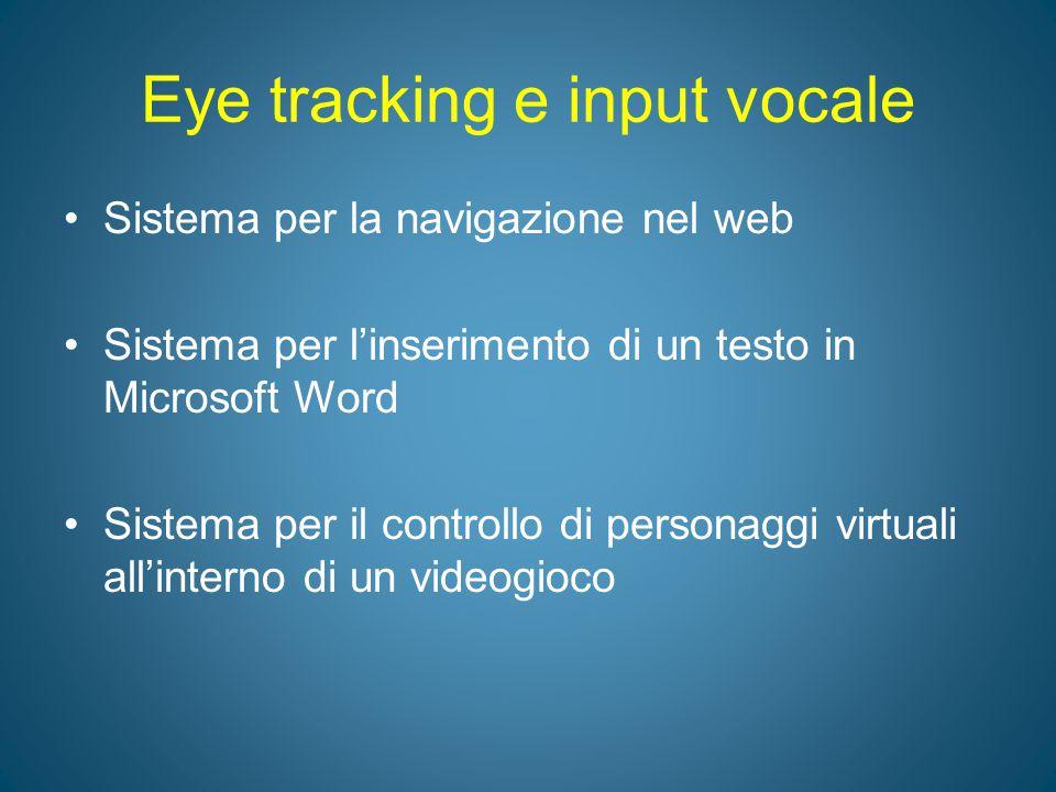 Eye tracking e input vocale Sistema per la navigazione nel web Sistema per l'inserimento di un testo in Microsoft Word Sistema per il controllo di per