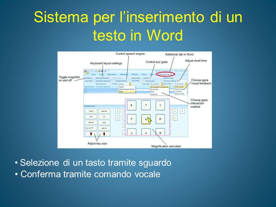 Sistema per l'inserimento di un testo in Word Selezione di un tasto tramite sguardo Conferma tramite comando vocale