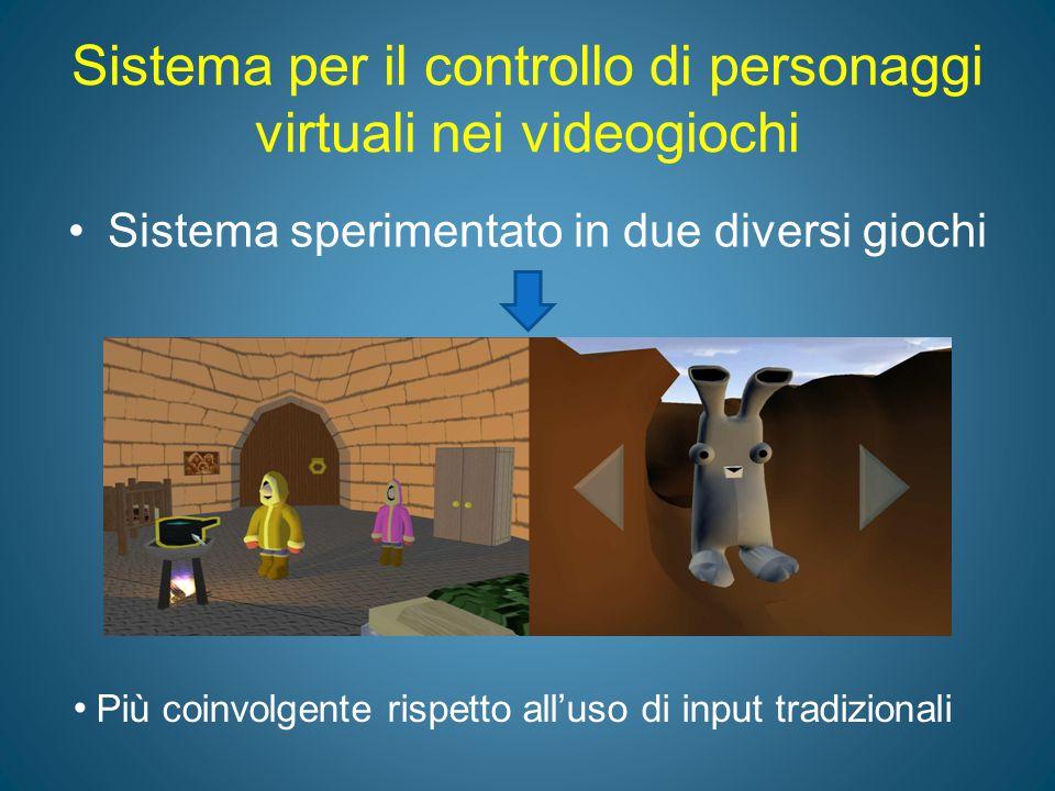Sistema per il controllo di personaggi virtuali nei videogiochi Sistema sperimentato in due diversi giochi Più coinvolgente rispetto all'uso di input