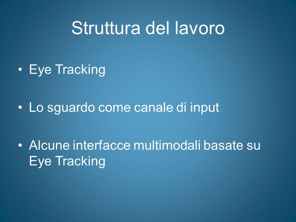 Struttura del lavoro Eye Tracking Lo sguardo come canale di input Alcune interfacce multimodali basate su Eye Tracking
