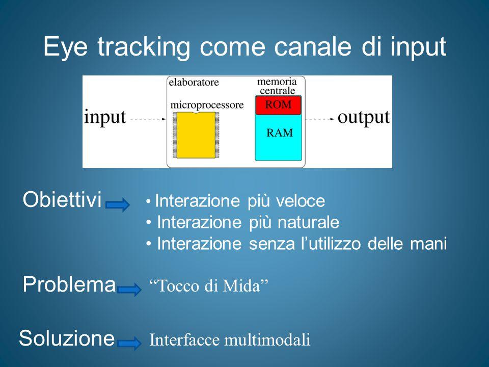 """Eye tracking come canale di input Obiettivi Interazione più veloce Interazione più naturale Interazione senza l'utilizzo delle mani Problema """"Tocco di"""