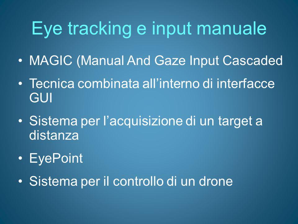 Eye tracking e input manuale MAGIC (Manual And Gaze Input Cascaded Tecnica combinata all'interno di interfacce GUI Sistema per l'acquisizione di un ta